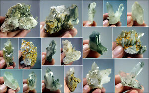 Natural-Stunning-Lot-of-Chlorite-Quartz-Crystals-Specimens-Pakistan-17Pcs-1-8kg