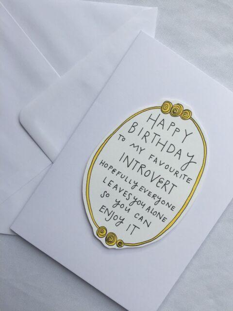 Happy Birthday Introvert - Greeting Card - Funny - Hand-drawn Illustration