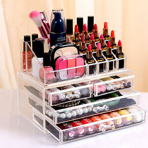 Details About Cosmetic Organizer Clear Acrylic Makeup 4drawers Holder Box Case Jewelry Storage