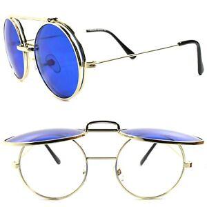 8b22da30b7 Vintage Retro Mens Womens Django Lennon Gold Flip Up Blue Lens Round ...