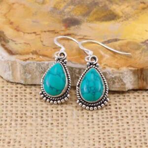 Turquoise-925-Sterling-Silver-Teardrop-Drop-Earrings-Jewellery