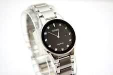 Citizen Axiom Eco-drive Black Dial Women's Stainless Steel Watch Ga1050