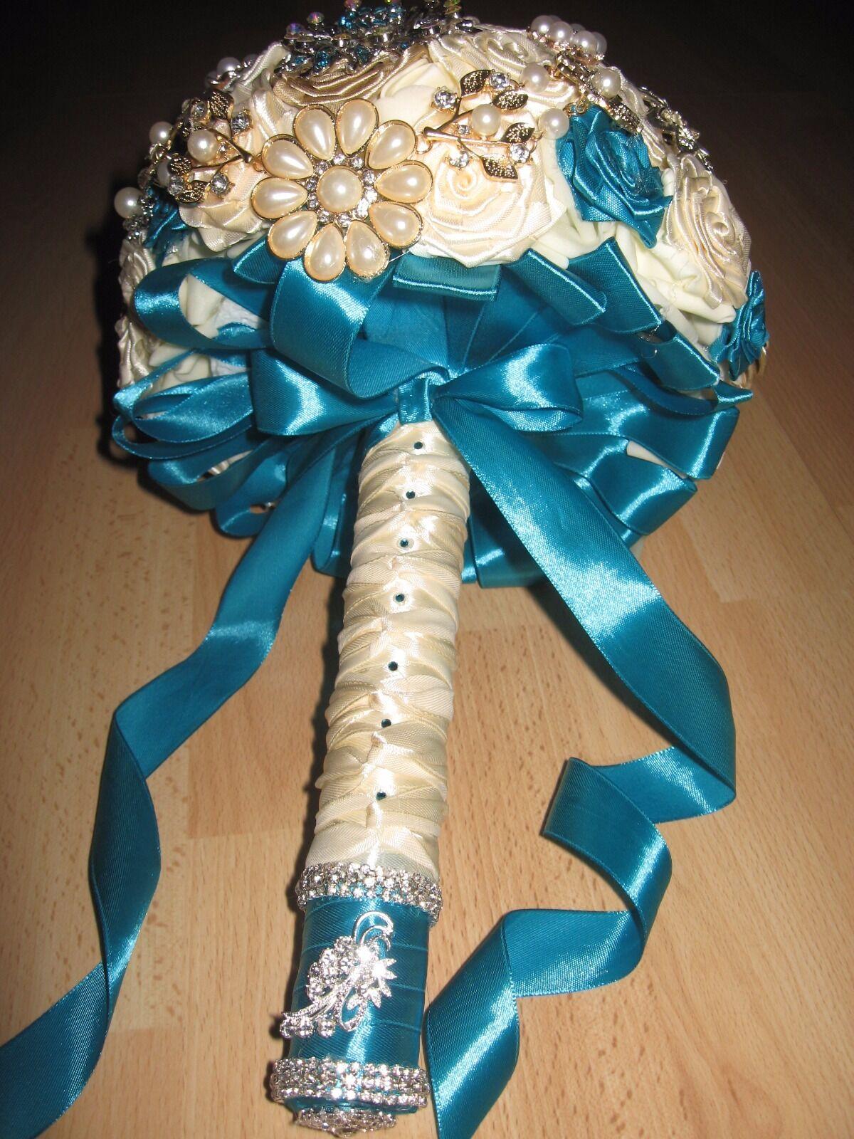 Large Turquoise Et Crème Style Vintage broche bouquet, mariages, les commandes personnalisées, Brida