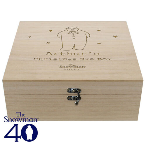 Personalised Wooden Engraved The Snowman Large Wooden Christmas Eve Box Xmas