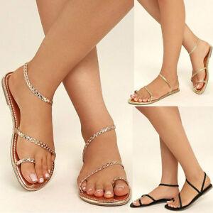 Women-039-s-Strappy-Gladiator-Low-Flat-Heel-Flip-Flops-Beach-Sandals-Summer-Shoes