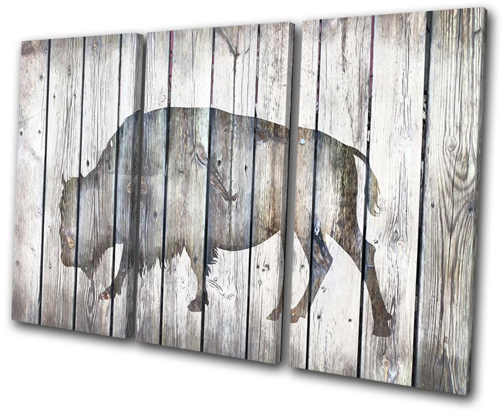 Bison Vintage Wood Animals TREBLE TELA parete arte foto foto foto stampa b75a91