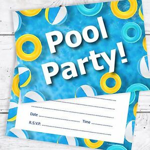 swimming pool birthday party invitations a6 postcard size pack 10