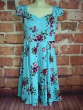 ffba1e4afb HEARTS and ROSES H&R Rockabilly Blue Floral Dress US 8 UK 12 Eu 40 50's  Style