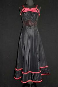 RARE-VINTAGE-1950-039-S-BLACK-RAYON-TAFFETA-PARTY-DRESS-amp-RED-ROLLED-TRIM-SIZE-6