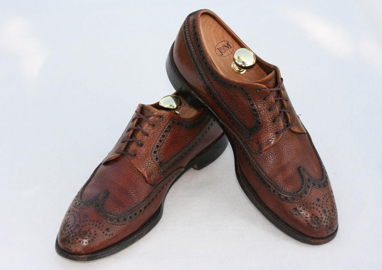 60s Florsheim Royal Imperial Wing Tip básico con Guijarros Marrón Hombres Zapato 9.5 D 97606