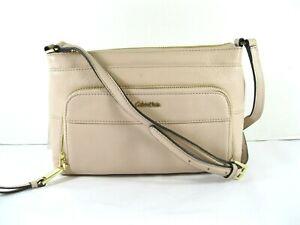 Calvin-Klein-NEW-158-Blush-Crossbody-Shoulder-Bag-Pebble-Soft-Leather-Zip-Top-X