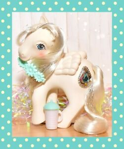 My-Little-Pony-MLP-G1-Vtg-1987-Princess-Ponies-TIFFANY-Pearl-Pegasus-JEWEL