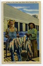 KY String of Fish Taken from Waters below Kentucky Dam, fishermen, linen