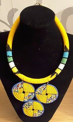 African Masai Tribal beads choker necklace with pendant - Afroxone Accessories