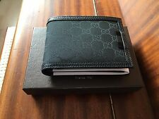 Gucci GG Monogram Mens Black Canvas&Leather Wallet 333042