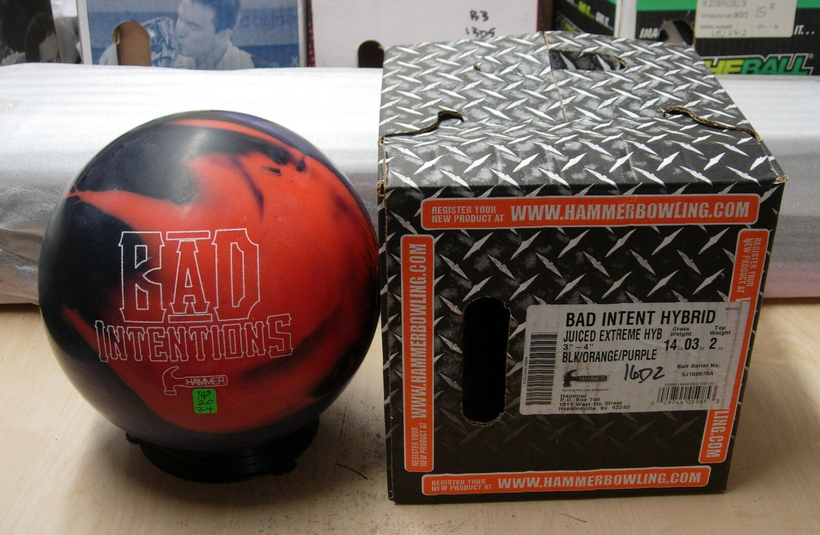 = 14oz, TW 2, Pin 3-4, NIB Hammer BAD INTENTIONS HYBRID Bowling Ball
