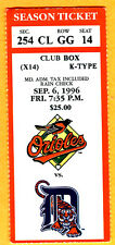 BEAUTIFUL/NO CREASES-ORIOLES EDDIE MURRAY HR #500 TICKET STUB-9/6/96-TIGERS