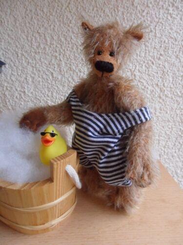 RARITÄT: Badeanzug Handarbeit! blau-weißgestreift für 14-16 cm Bären Mini
