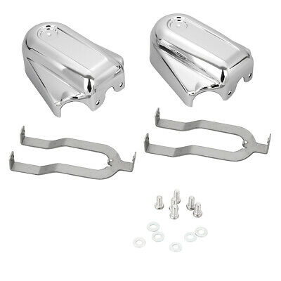 Pair Black Bar Shield Rear Axle Covers Swingarm Cap For Harley 08-later Softail