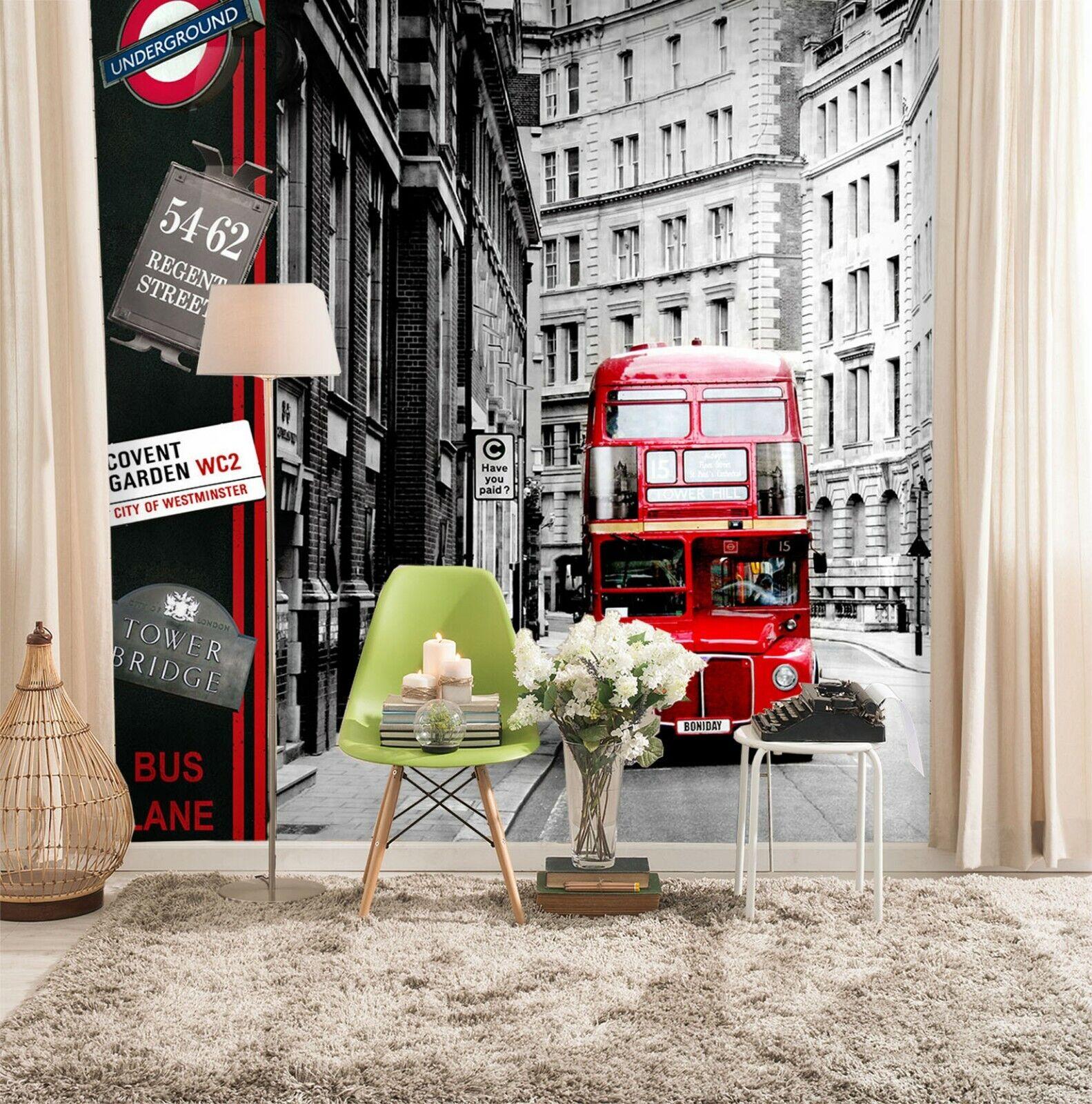 3D Straße roter Bus M175 Auto Tapete Wandbild Selbstklebend Abnehmbare Angelia