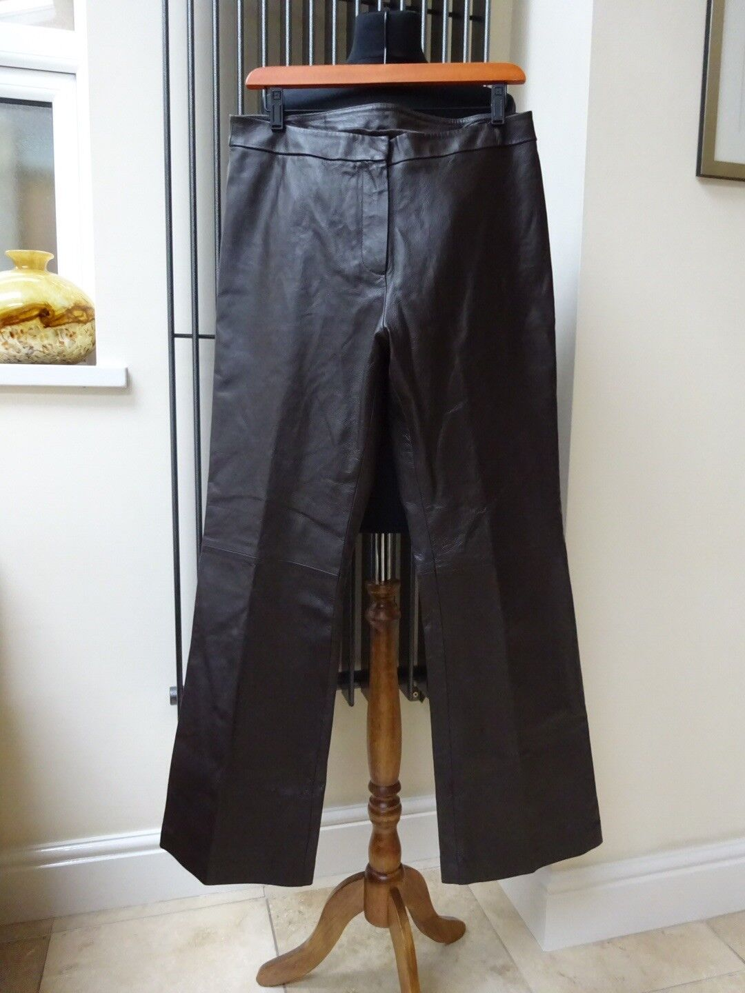 Images Ladies  Dark Brown Straight Leg Leather Trousers UK14R New