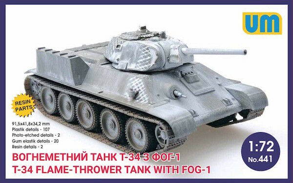 UNIMODEL 1 72 russo T-34 flame-throwing CARRO ARMATO CON fog-1