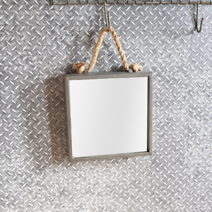 Zinc Square Hanging Wall Mirror With Rope 23cm X 23cm Ebay