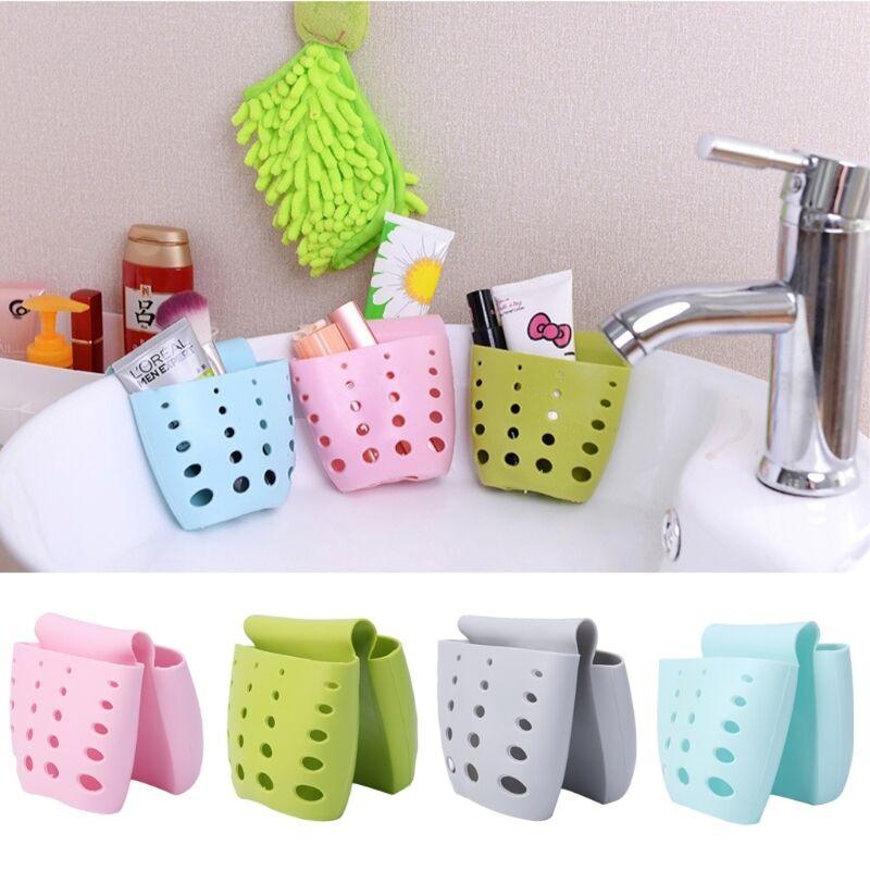 Kitchen Sponge Sink Holder Silicone Storage Organizer Baskets Drain Hanging Bag