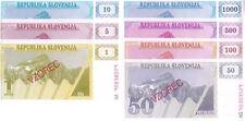 SLOVENIA UNCIRC SPECIMEN BANKNOTE SET 1 TO 1,000 TOLAR