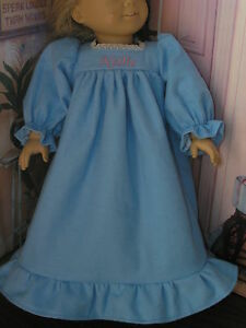 Nellie-Embroidered-Name-Flannel-Nightgown-18-034-Doll-clothes-fits-American-Girl
