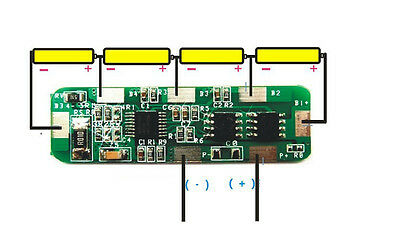 4A-5A PCB BMS Protection Board for 4 Packs 18650 Li-ion lithium Batterie Cell 4S