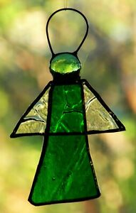 EMERALD-GREEN-3D-ANGEL-stained-glass-suncatcher-CRYSTAL-WINGS-CHRISTMAS-GIFTS