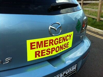 Magnetic sign EMERGENCY RESPONSE dayglo Background with red text vehicle signage