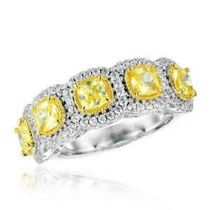 5Ct-Cushion-Cut-Yellow-Sapphire-Diamond-Halo-Engagement-Ring-14K-White-Gold-Over