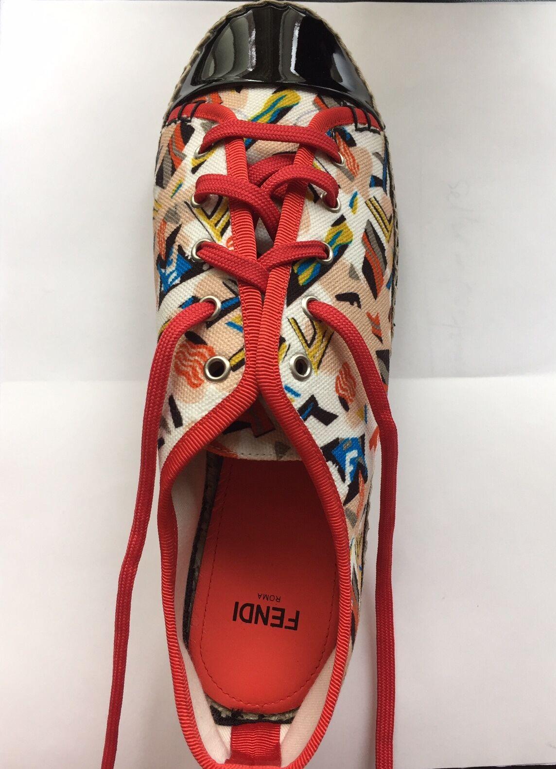 450 NEW Fendi Junia Canvas Patent Leather Espadrille Sneakers Size 36.5 6.5
