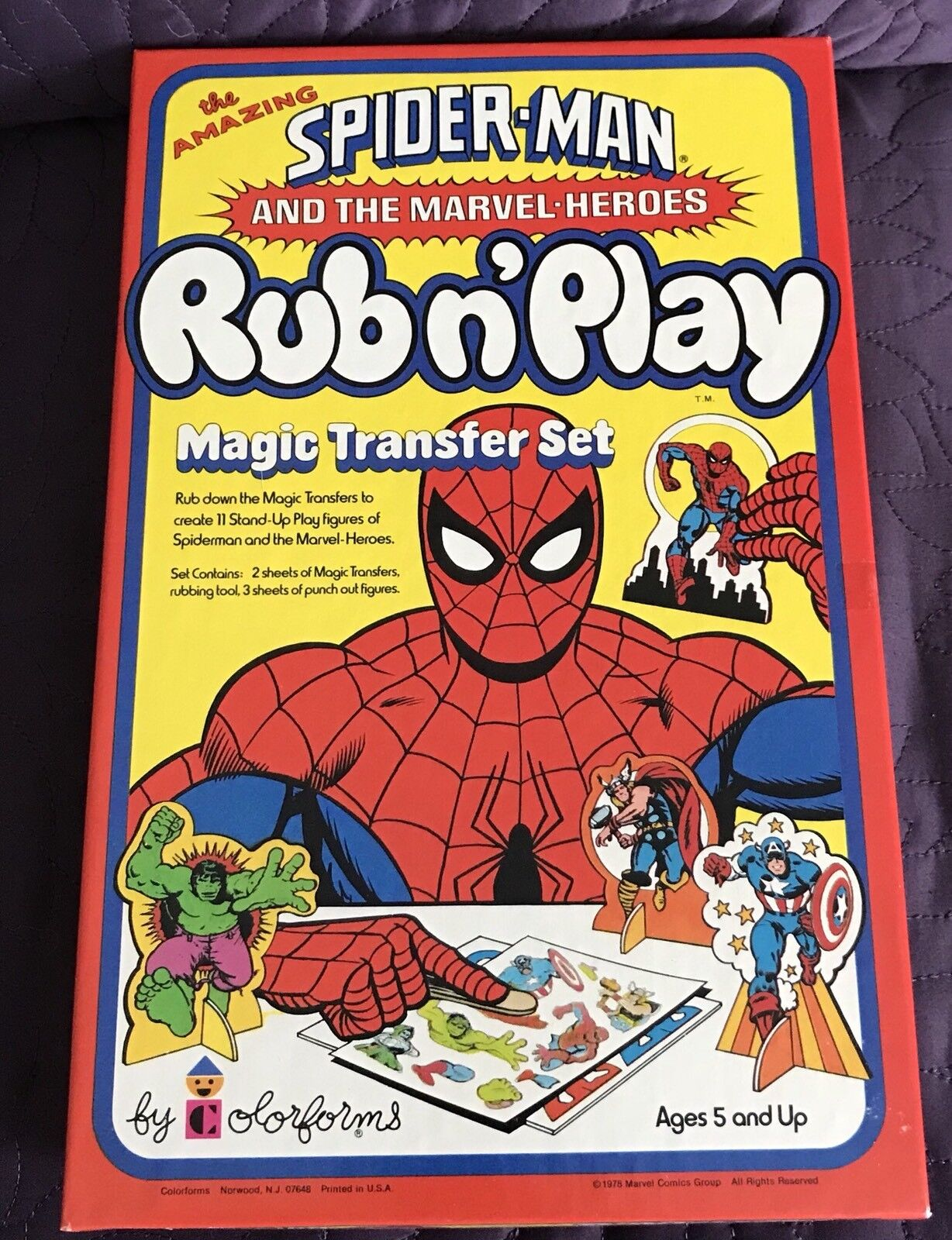 FarbeFORMS  AMAZING SPIDER-MAN RUB N' PLAY  1978  MARVEL  UNUSED  NOS