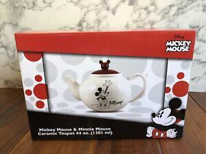Disney-Mickey-Mouse-Minnie-Mouse-Ceramic-Teapot-Vandor-Classic-Mickey-Ears-New