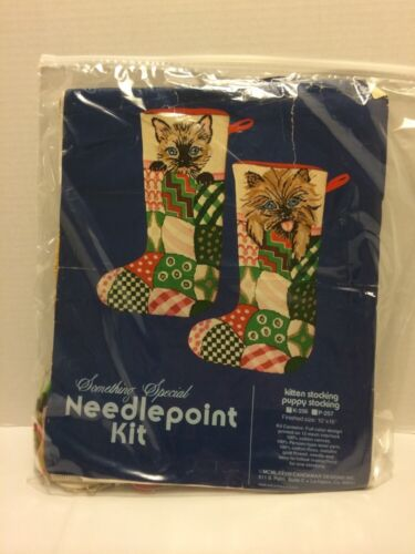 "Candamar Designs Needlepoint Kit Kitten Stocking Kit Quilt K256 10""X 16"""