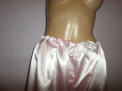 LONG PINK SATIN WHITE LACE LONG BLOOMERS VICTORIAN LOOK  30-46W BOWS