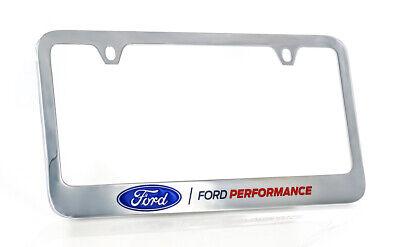 FORD DUAL BLUE OVAL Chrome Plated Brass License Plate Frame w// Chrome Cap