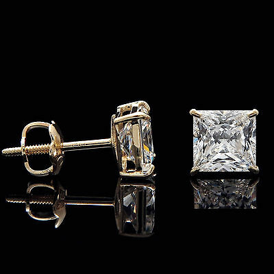 5 CT Princess Created Diamond Earrings 14K Yellow Gold Solitaire Square Studs