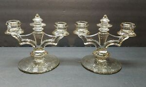 Vintage-Antique-Art-Deco-Depression-Glass-Smoke-Grey-Cut-Glass-Candle-Holders