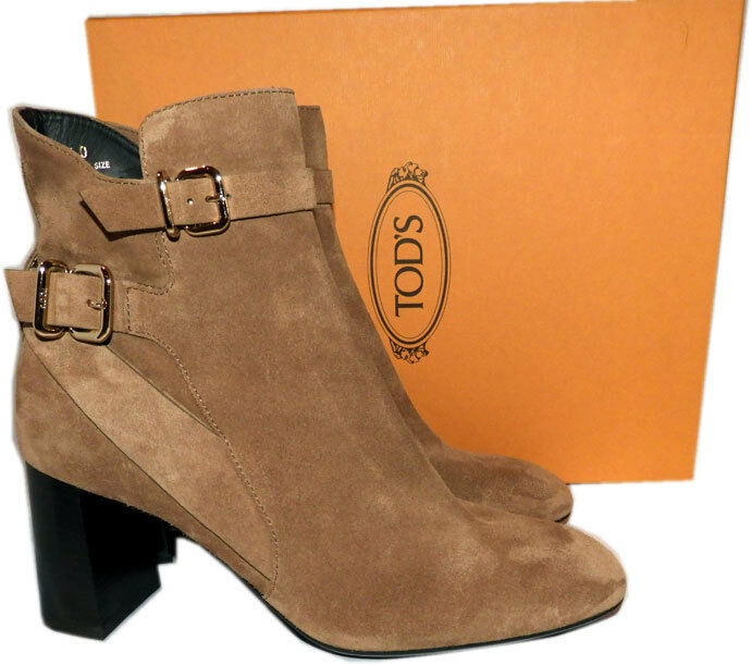 795 Tod's Ankle Boots Calfskin Beige Suede Decorative Buckle Booties 40 New