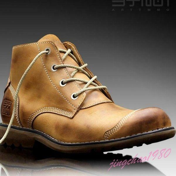Retro Men Cowboy Leather Brown Trendy Comfort Oxfords Fashion Ankle Boots shoes