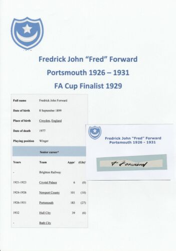 FRED FORWARD PORTSMOUTH 19261931 VERY RARE ORIGINAL HAND SIGNED CUTTINGCARD