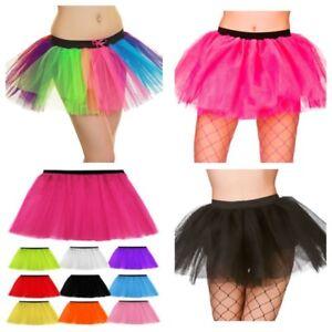 fce0b164677 WOMENS GIRLS HOT NEON RAINBOW TUTU SKIRT BALLET DANCE FANCY DRESS ...