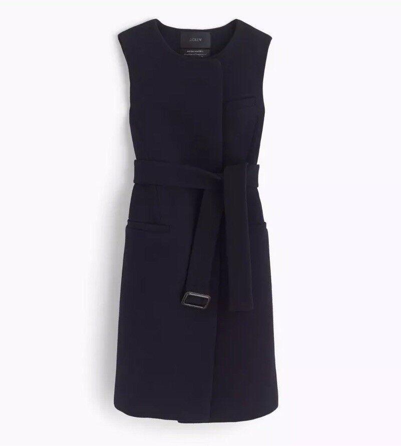 New JCrew Belted Vest in Italian Wool  Sz 12 Navy azul F3917  exclusivo