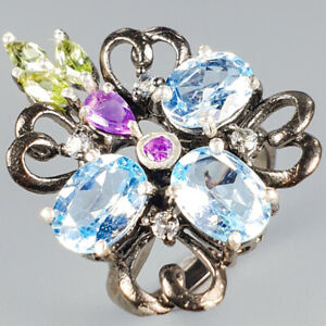 Handmade uniuqe Natural Blue Topaz 925 Sterling Silver Ring Size 6.5/R118752