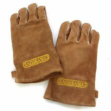 HEAVY DUTY Wood Burner Stoves Fireplace Heat Resistant Fire Gloves - Brown Tan