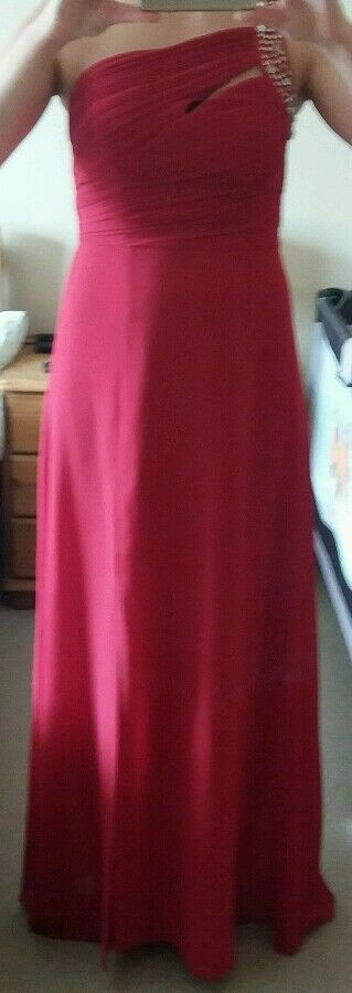 Gorgeous Red one shoulder Lipsy maxi dress size 12